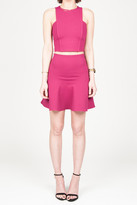 Donna Mizani Mini Flonce Skirt In Berry