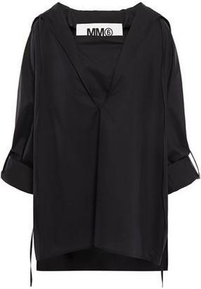 MM6 MAISON MARGIELA Oversized Cape-back Layered Cotton-poplin Top