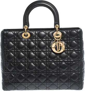 Christian Dior Black Cannage Leather Large Lady Tote