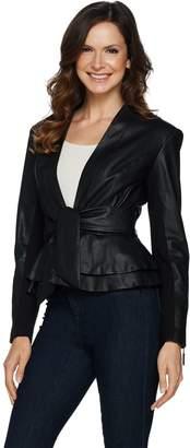 G.I.L.I. Got It Love It G.I.L.I. Tie Front Faux Leather Jacket