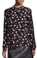 SET Lace Trim Floral-Print Blouse