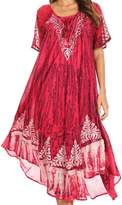 Sakkas 16601 - Ronny Lace Embroidered Cap Sleeve Tie Dye Wash Caftan Dress / Cover Up - OS