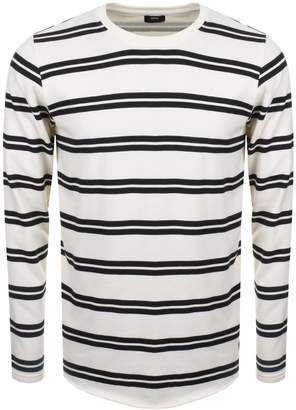 Edwin Long Sleeve Striped Terry T Shirt White