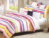 Nicole Miller 3pc Queen or King Duvet Cover Set Bright Watercolor Stripes Pink Yellow Blue Modern Bedding (Full/Queen)
