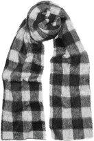 Balenciaga Checked Brushed Knitted Scarf - Black