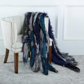 A by Adrienne Landau Faux Fur Throw with Tails - Blue Coyote