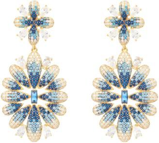 Latelita Babylon Flower Drop Earrings Gold Blue