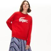Lacoste Women's Oversized Logo Cotton Stretch Sweater