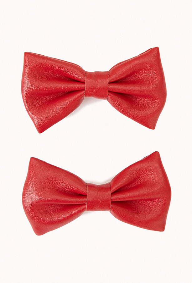 Forever 21 Faux Leather Bow Hair Clips