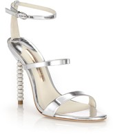 Sophia Webster Rosalind Embellished-Heel Metallic Leather Sandals
