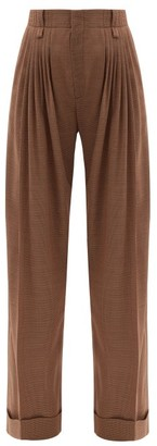 Chloé Pleated Houndstooth Wool-flannel Wide-leg Trousers - Light Brown