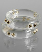 set of 2 - clear lucite spike bangles