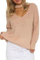 Viottis Women's Choker V-Neck Bandage Stretch Knit Pullover Sweater