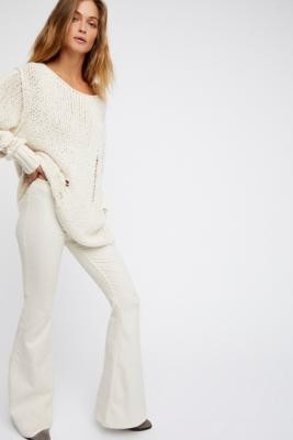 Free People Penny Pull On Flare Jeans - Beige 26 at Urban Outfitters