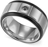 Triton Men's Black and White Tungsten Ring, Black Diamond Accent Wedding Band