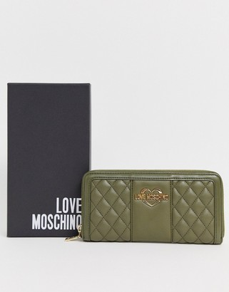 Love Moschino quilted faux leather large zip purse-Green