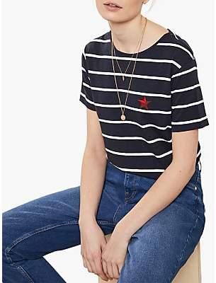 Mint Velvet Stripe Bow Back T-Shirt, Navy