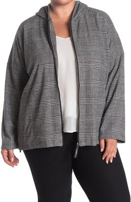 Max Studio Plaid Zip Front Hooded Jacket (Plus Size)
