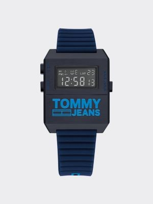 Tommy Hilfiger Digital Blue Silicone Strap Watch