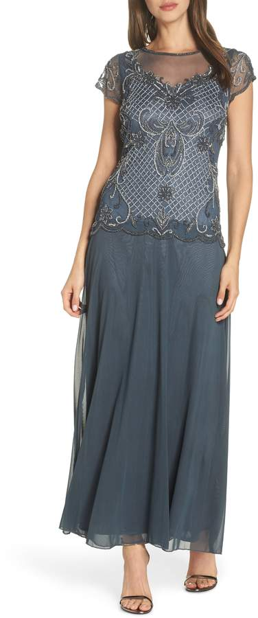 Pisarro Nights Mock Two-Piece Beaded Bodice Evening Dress