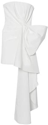 Carolina Herrera Strapless Side Drape Silk Midi Dress