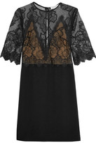 Sandro Layered Lace And Crepe Mini Dress