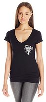 Metal Mulisha Juniors Angel Graphic Vneck Tee with Wings Print on Back