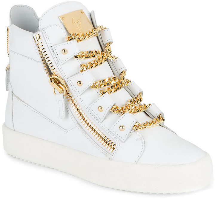 Giuseppe Zanotti Leather Chain Lace-Detailed High-Top Sneaker