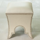 The Well Appointed House Global Views Ivory Leather Moroccan Poof Seat or Ottoman