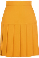 Gucci Pleated Silk And Wool-blend Crepe Mini Skirt - Mustard