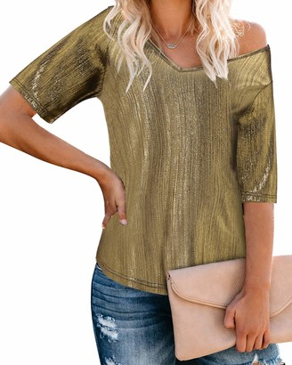 YOINS Women Long Sleeve V Neck Top Metallic Blouses Casual Sexy Cut Out Lantern Sleeves Shirts Club Party