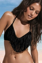 L*Space Swimwear Audrey Triangle Fringe Top in Black