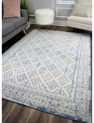 Bungalow Rose Reva Transitional Ivory/Pink/Blue Indoor/Outdoor Area Rug Rug Size: Rectangle 5' x 7'