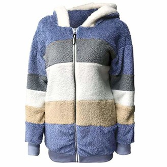 Wlwwcx Contrasting Lamb Wool Padded Coat Womens Womens Hooded Fleece Jackets