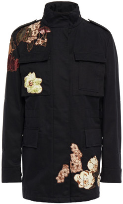 Valentino Appliqued Cotton-twill Hooded Field Jacket