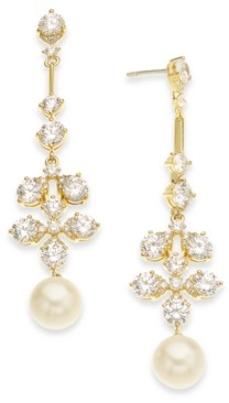 Eliot Danori 18k Gold-Plated Imitation Pearl & Cubic Zirconia Drop Earrings, Created for Macy's