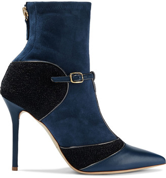 Malone Souliers Sadie 100 Suede, Lurex And Leather Ankle Boots