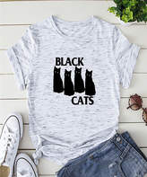 Basico Women's Tee Shirts Multicolor - Heather Gray 'Black Cats' Tee - Women & Plus