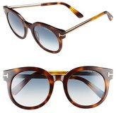 Tom Ford Women's 'Janina' 51Mm Round Sunglasses - Dark Havana/ Gradient Green