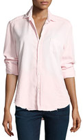 Frank And Eileen Eileen Long-Sleeve Distressed Italian Denim Shirt, Pink