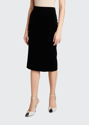 Saint Laurent Velvet Midi-Length Pencil Skirt
