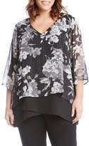 Karen Kane Plus Size Women's Metallic Floral Layered Look Top