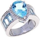"Colleen Lopez ""Bliss"" 9.33ctw Pear and Baguette-Shaped Sky Blue Topaz and White Topaz Sterling Silver Band Ring"