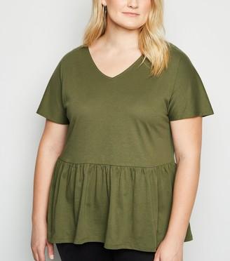 New Look Curves V Neck Peplum T-Shirt
