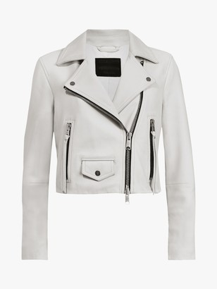 AllSaints Elora Leather Biker Jacket, Off White