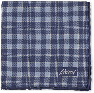 Brioni Reversible Plaid/Small-Flower Pocket Square