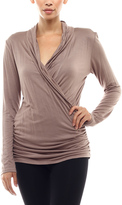 Celeste Mocha Surplice Top