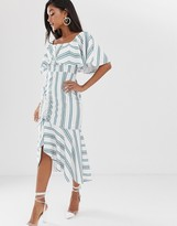 Asos Design DESIGN square neck striped midi dress with ruched skirt and pep hem