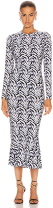 Norma Kamali Long Sleeve Crew Fishtail Dress in Chevron Zebra | FWRD