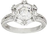 Diamonique 100-Facet Fancy Halo Ring, Platinum Clad